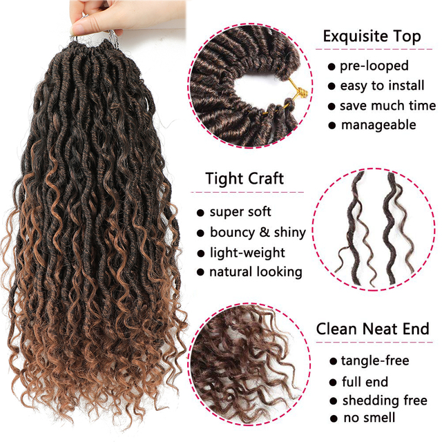Synthetic Crochet Braids Hair Passion Twist River Goddess Braiding Hair Extension Ombre Brown Faux Locs With Curly Hair X-TRESS 2