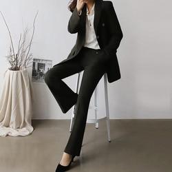 2 piece suit Retro autumn and winter womens pants suit black blazer jacket and pants 2019 office wear womens suit