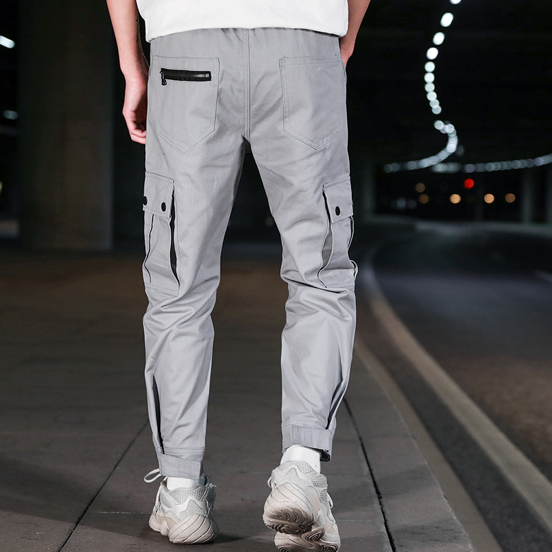 2019-Casual Pants Fashion National Trends Bib Overall Young MEN'S Students' Pants K102