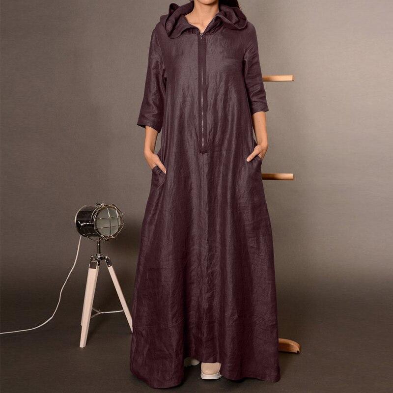 Женское осеннее платье с капюшоном ZANZEA, повседневное длинное платье на молнии в стиле панк с длинным рукавом, туника для женщин, большие раз...