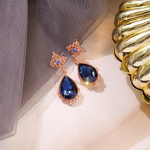 water drops full  jewelry  bule crystal  luxury korean fashion  boho tassel  stone  women  rhinestone earrings women s earrings fashion jewelry natural gradient mermaid tears water drops blue s925 silver hanging earrings stone e1244