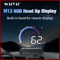 Geyiren carro hud m13 obd hud display brisa projetor de temperatura display hud carro eletrônica do carro sistema de aviso excesso de velocidade