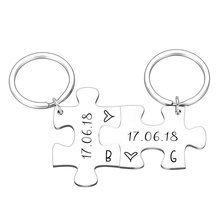 2PCS Couple Keychain Gifts for Husband Wife Boyfriend Girlfriend Valentines Customized Date and Two Initials Keychains for Him