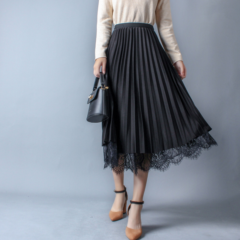 Autumn Women Skirt New England High Waist Mesh Skirt Work Lace Patchwork Pleated Skirt Elegant Big Tulle Skirts Wear Both Sides
