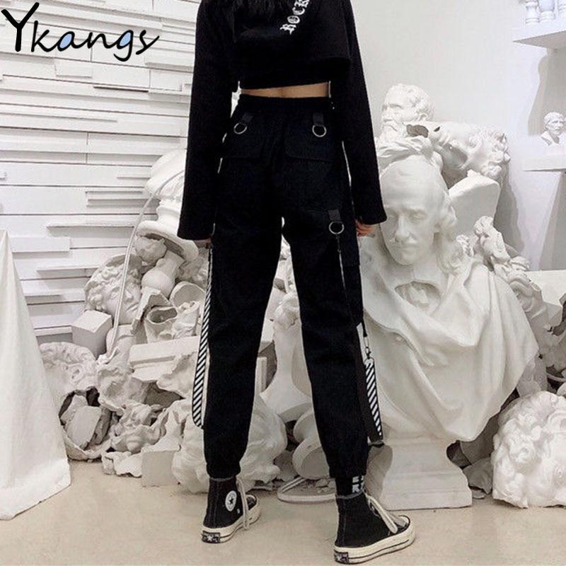 Punk Pants High Waist Pants Gothic Black Loose Women Hip Hop Camo Pants Female Punk Black Cargo Pants Capris Trousers Streetwear