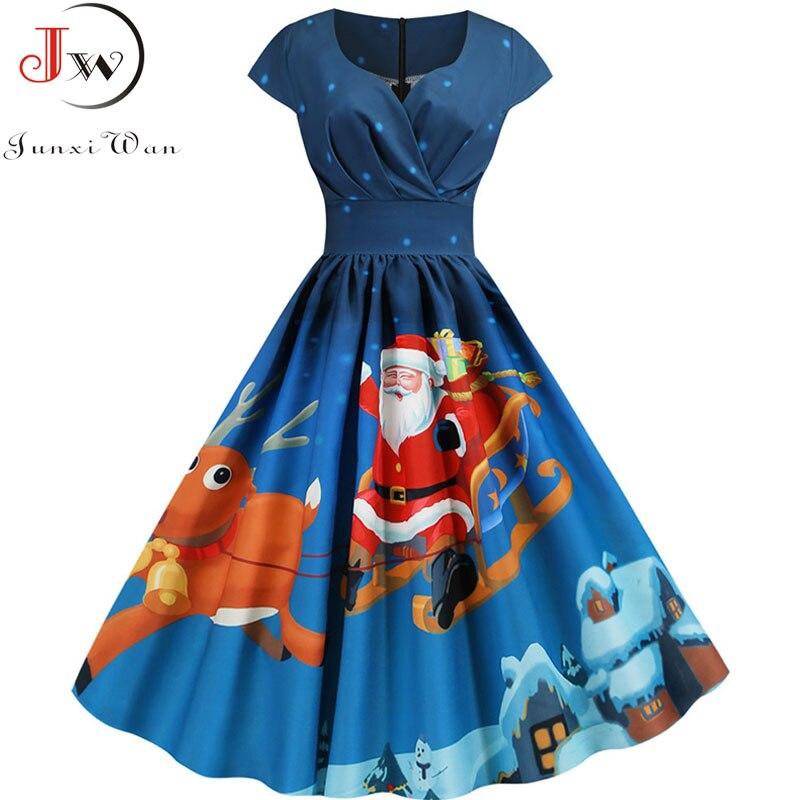 2019 papai noel impressão do vintage feminino elegante festa de natal vestido robe femme plus size 3xl casual com decote em v inverno midi vestidos