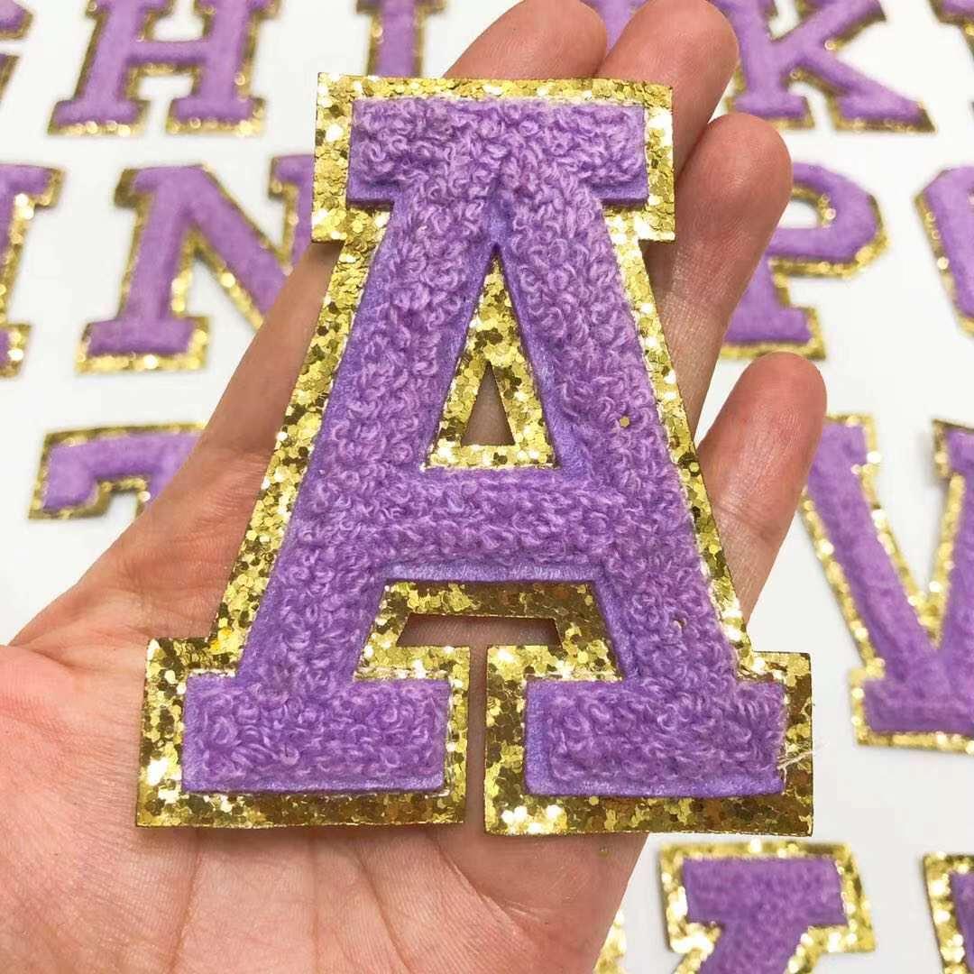 Вышитые нашивки с фиолетовыми буквами алфавита для одежды, сумок, курток, аксессуаров «сделай сам»