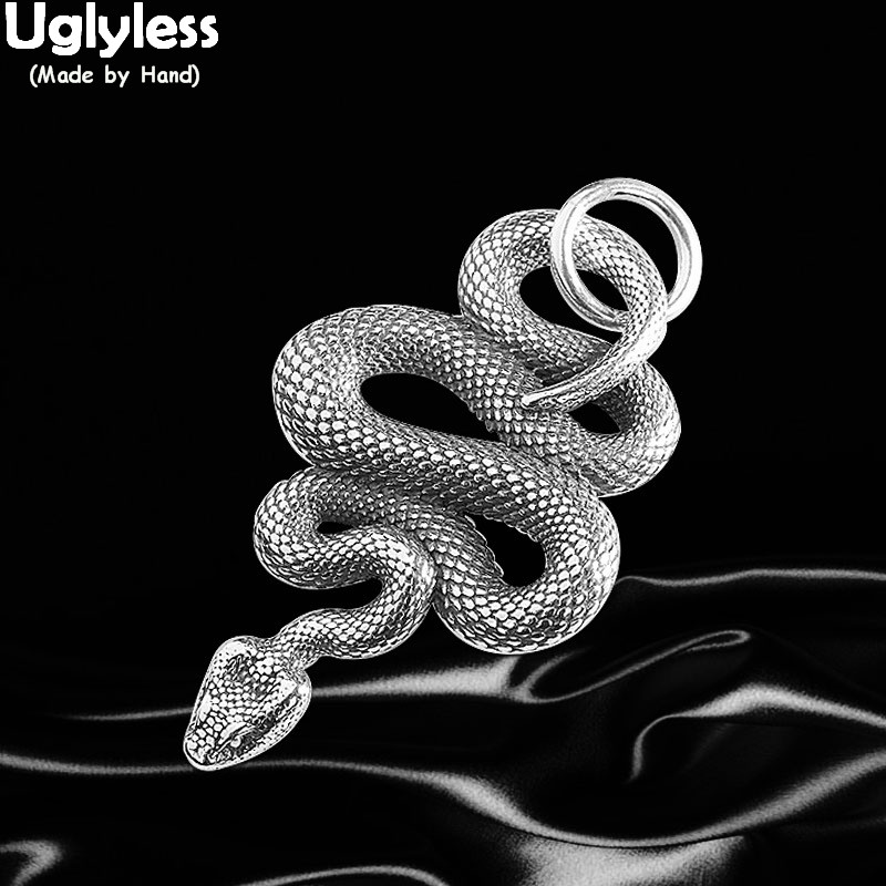 Uglyless Novel Creative Snake Pendants For Men Cool Thai Silver Snakes Necklaces NO Chains 925 Silver HIP HOP PUNK Dress Jewelry