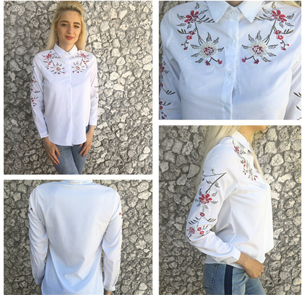Floral Embroidery White Shirt Blouse  2020 Spring Casual TopTurn Down Collar Long Sleeve Cotton Women's Blouse Feminina