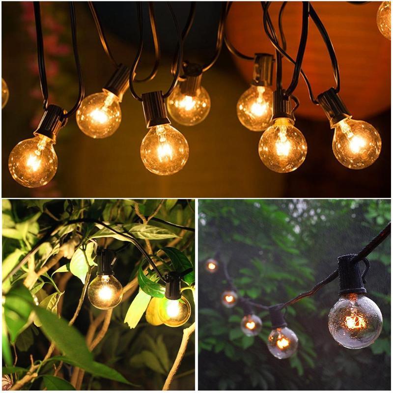 G40 8/15m 25/50LED Ball Bulb Fairy String Light Waterproof Yard Garden Decorative Lamp Garland Retro LED Bulbs Light