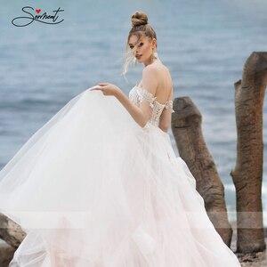 Image 5 - BAZIIINGAAA فستان زفاف فاخر مثير بدون أكمام كتف مكشوف الظهر فستان زفاف نوبل دانتيل خرز دعم خياط