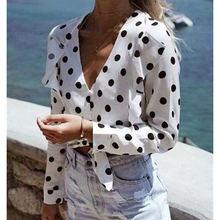 Женская блузка в горошек стиле бохо Новинка осени 2020 рубашка