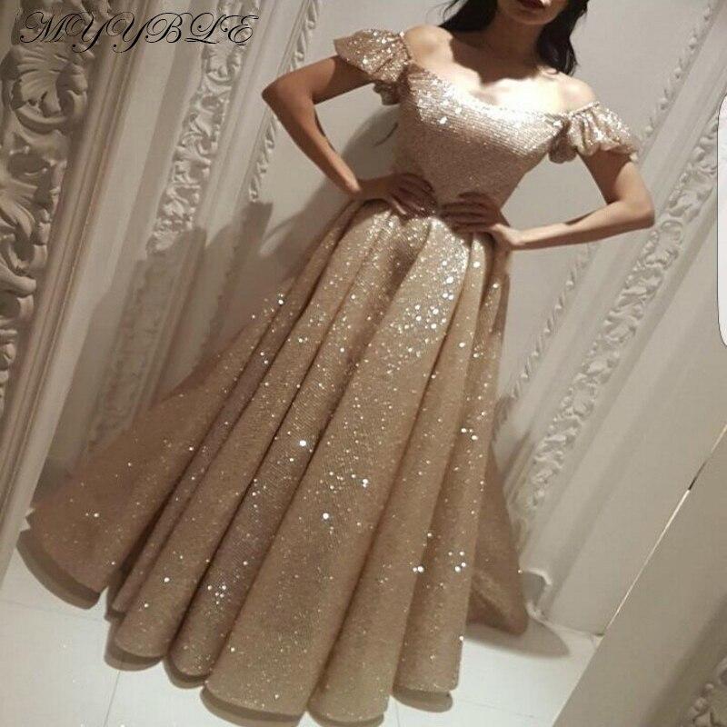 Robe De Soiree 2020 Champagne Evening Dress Long A-Line Glitter Sequin Saudi Arabic Women Formal Prom Evening Gown Abendkleider