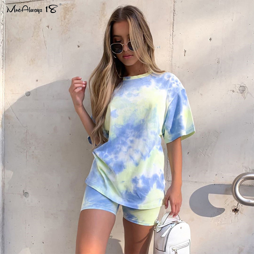 Mnealways18 Tie-Dye Casual Suits Women's Tracksuit 2 Piece Set T-Shirt And Shorts Sports Suits Summer Sweatshirt Set Female 2020