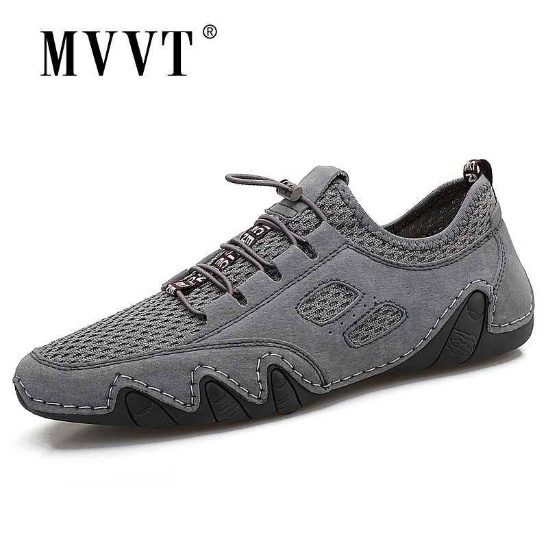 Summer New Mesh + Suede Men Loafers Breathable Casual Leather Shoe Men Flats Hot Sale Soft Driving Shoes Moccasins