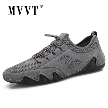 Summer New Mesh + Suede Men Loafers Breathable Casual Leather Shoe Men Flats Hot Sale Soft Driving Shoes Moccasins 2020 super comfortable casual leather shoes men soft leather loafers men shoes breathable flats shoe hot sale moccasins shoes