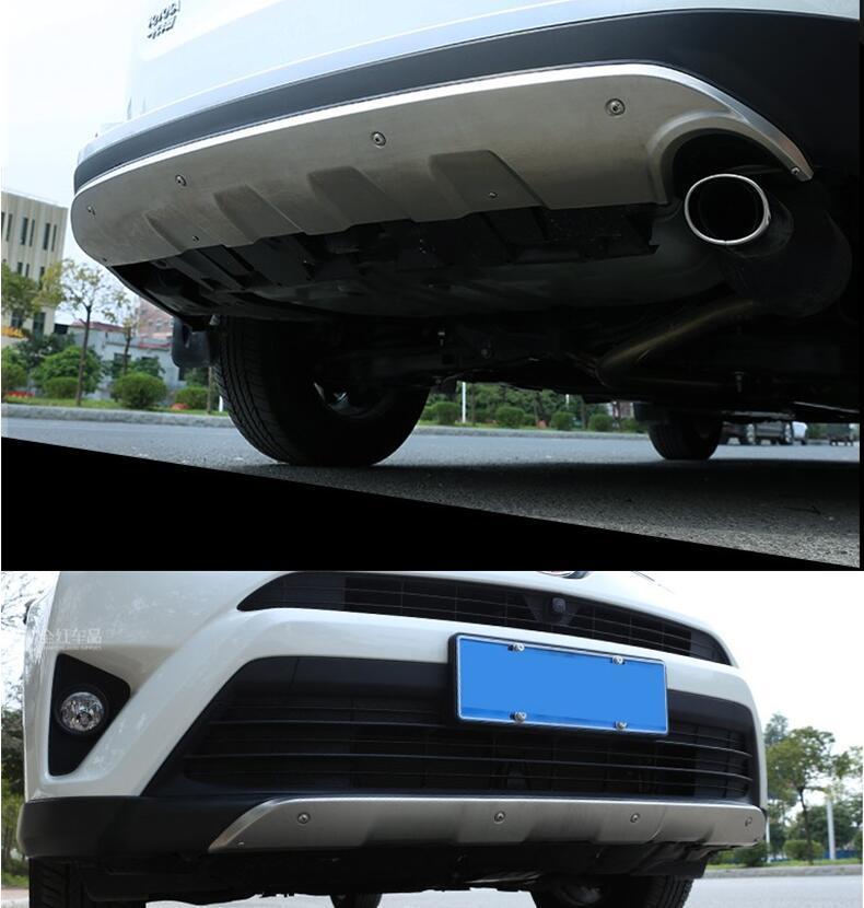 Pour TOYOTA RAV4 2016.2017.2018 Auto pare-chocs garde haute qualité en acier inoxydable avant + arrière pare-chocs plaque accessoires de voiture