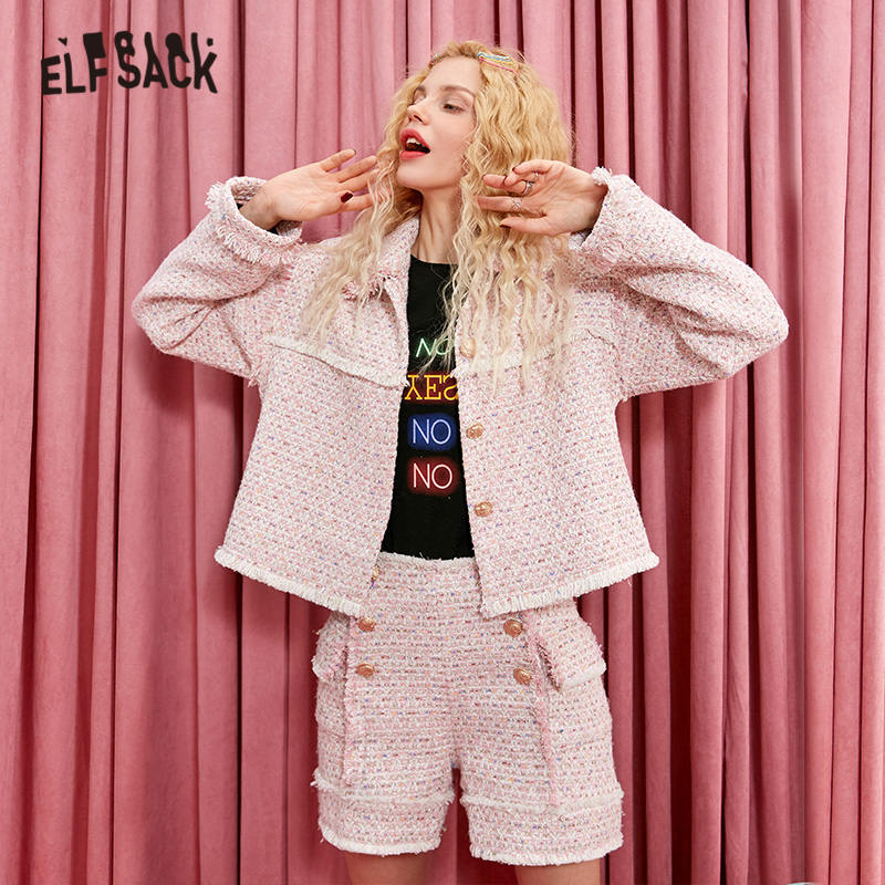 ELFSACK Pink Plaid Valuable Button Fringe Women Sets 2019 Winter Single Breasted Elegant Casual Office Ladies Two Piece Suits