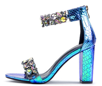 Blue Women Sandals Bling Bling Crystal Bead high heels Shoes Wedding Party Sandals Chunky High Heel Summer Sandals фото