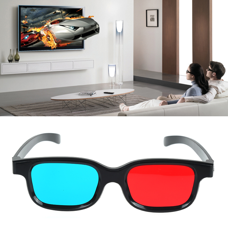 New Red Blue 3D Glasses Black Frame For Dimensional Anaglyph TV Movie DVD Game Vision/cinema