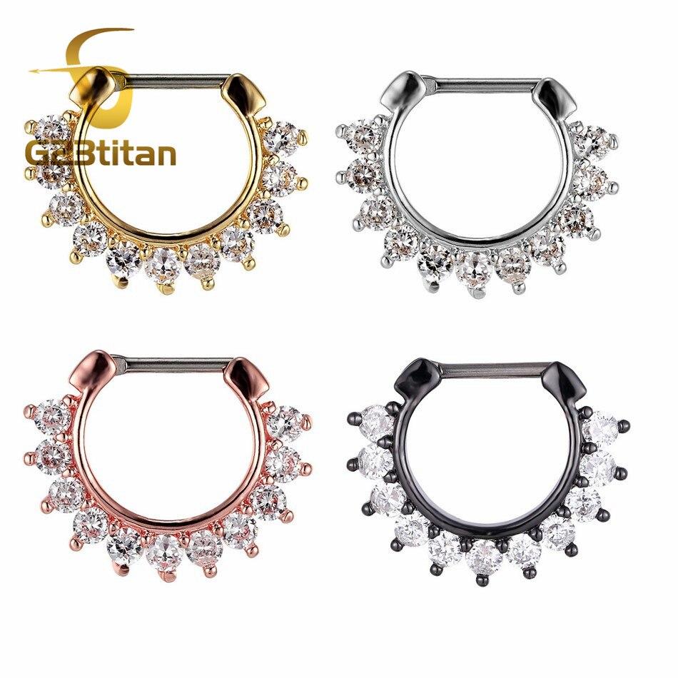 Женские Ювелирные изделия G23titan для пирсинга, кольцо для носа, кольцо из титана, кликеры, кристаллы, серьги для ушей