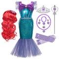 Платье принцессы для девочек с рисунком Русалочки Ариэль платье на Хэллоуин для детей, праздничный костюм для детей, карнавальный костюм на...