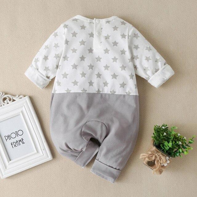 Baby Boys Girls Long Sleeve Cartoon Star Print Romper Infant Kawaii Elephant Pattern Jumpsuit Newborn Toddler Keep Warm Clothes 2