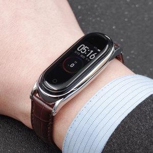 Image 5 - Mi Band 5 Strap for Xiaomi Mi Band 4 Bracelet Genuine Leather Wristband for Xiao Mi Miband 3 NFC Accessory Miband 5 Wrist Strap