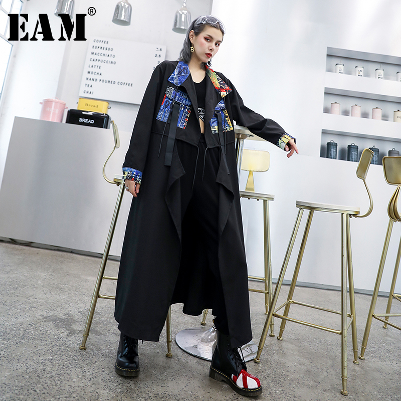 [EAM] Women Spliced Print Big Size   Trench   New Lapel Long Sleeve Loose Fit Windbreaker Fashion Tide Autumn Winter 2019 1D024