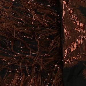 Image 5 - רויאל כחול אקארד תחרה בד ניגרי Tissu תחרה בגדי תפירה באיכות טובה אפריקאי ברוקד תחרה עם נוצת APW2921B