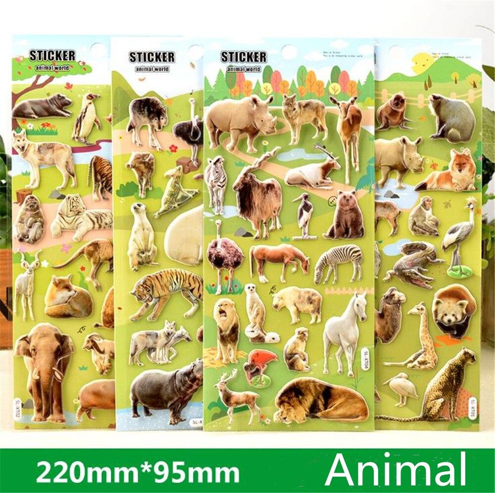 1pcs 3D Animals Stickers Toys For Children  Animals Tiger Lion Dinosaur Sticker Cartoon Child Stamp