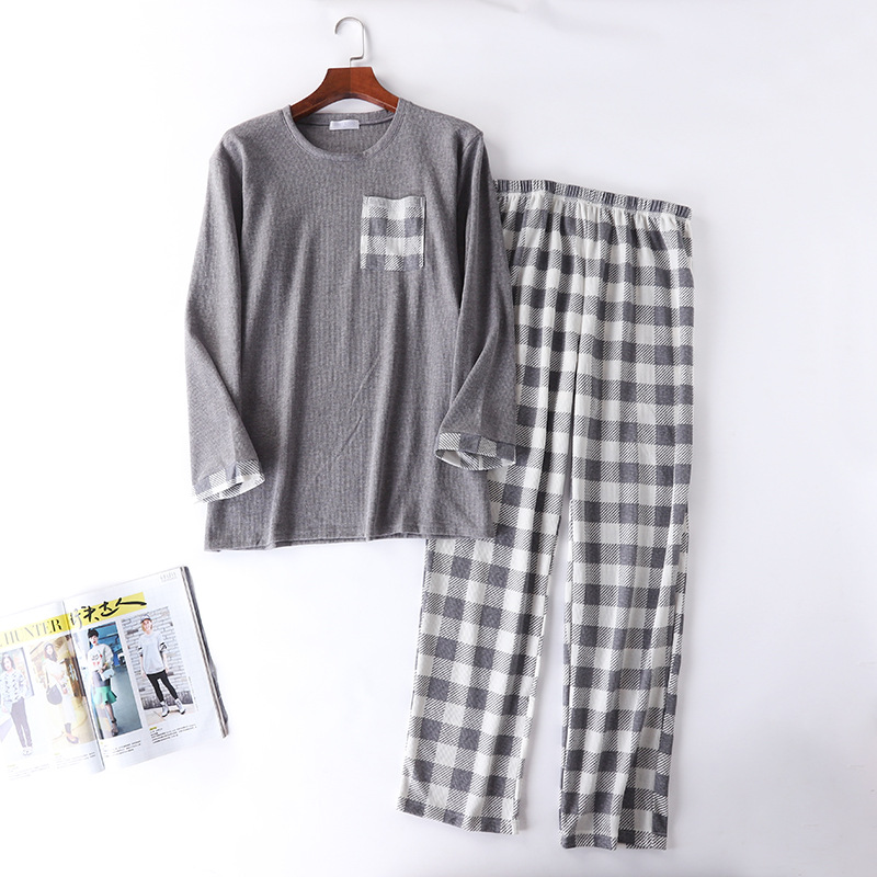 New Mens Knitted Cotton Plaid Waffle Casual Home Pajamas Pants Set O-Neck Plus Size Men Pajama Sets Long Sleeve Home Sleepwear