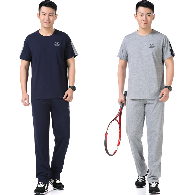 Sports Clothing Set Men's Summer Middle-aged Short Sleeve Trousers Casual Loose-Fit Running Daddy Clothes Two-Piece Set