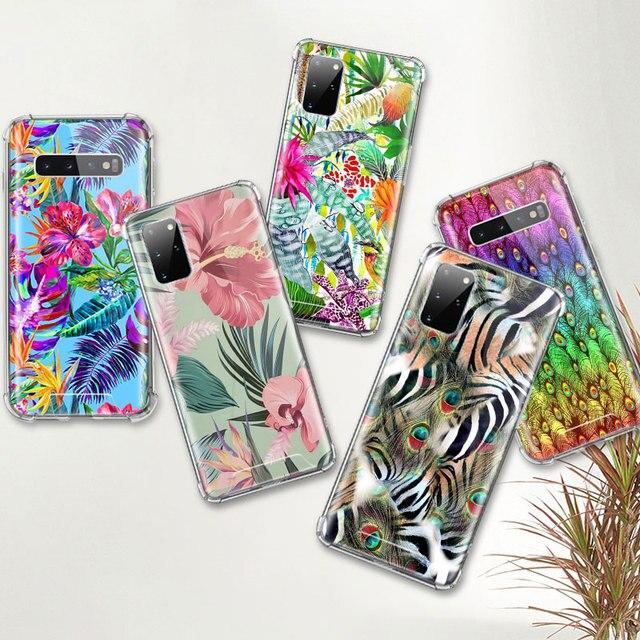 Fleurs tropicales chaudes étui pour samsung Galaxy S20 Ultra S10 Plus 5G S10e S9 S8 Note 10 Lite 9 housse de téléphone Airbag Anti coque