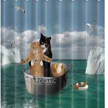 Funny Animal Decor Shower Curtains Romantic Catanic Two Cats on Sea Bath Curtains fabric for bathroon Waterproof