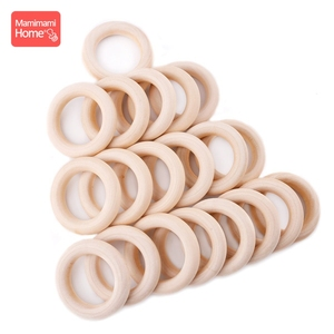 Image 4 - mamihome 100pcs 25mm 70mm Wood Teething Wooden Ring DIY Necklace Rattles wooden blank teether Nurse Gifts ChildrenS Goods toys