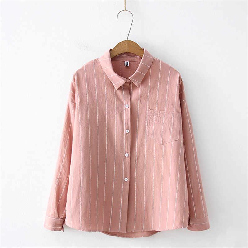 ผู้หญิงฤดูใบไม้ร่วงใหม่ลายเสื้อเสื้อ 2019 เสื้อลำลองผ้าลินินผ้าลินินเสื้อสุภาพสตรี Tops