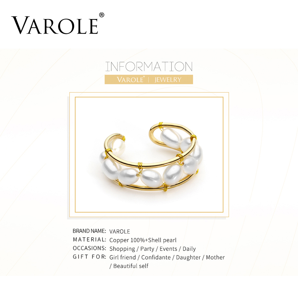Image 5 - VAROLE Natural Pearls Ring Handmade Gold Color Rings For Women Accessories Finger Fashion Jewelry GiftsRings   -