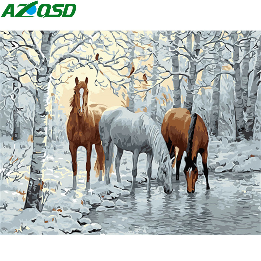 AZQSD DIY Paint By Numbers Animals Oil Painting By Numbers Horse 50x40cm Paint By Number On Canvas Handmade Gift