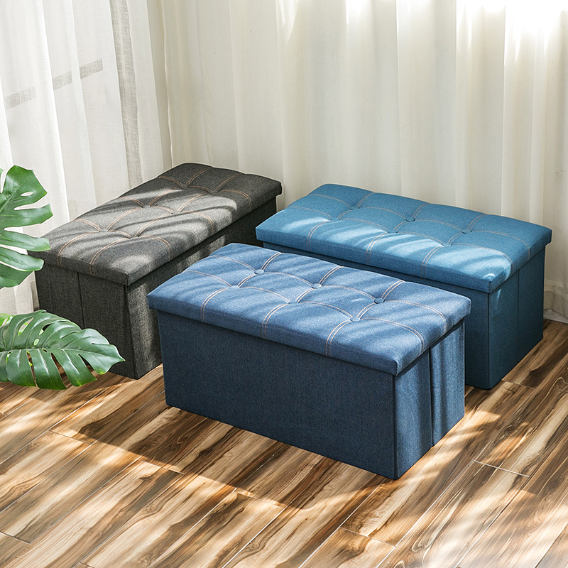 Denim fabric storage stool bench can sit adult foldable stool ottoman covered toy storage box can be customized