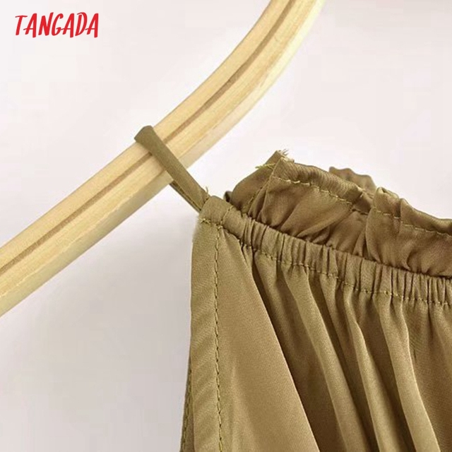 Tangada Women Sexy Satin Cut-out Dress Sleeveless Backless 2021 Summer Fashion Lady Dresses 3H788 3