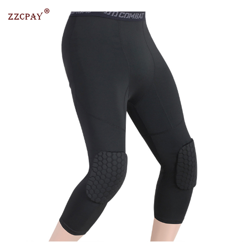 Men's Basketball Sports Knee pads 3/4 Compression Pants High Stretch Leggings Training Fitness Paintball knee protector Pants