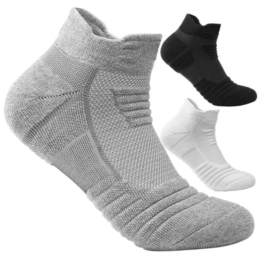 Дышащие спортивные короткие носки, однотонные плотные мужские носки для бега, футбола, баскетбола, эластичные спортивные носки