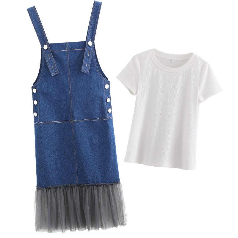 여름 새 여자 청바지 세트 니트 t-셔츠 무릎 길이 메쉬 데님 Suspender 드레스 공주 파티 숙 녀 캐주얼 정장