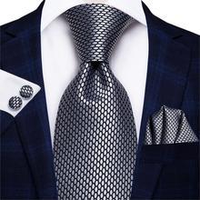 Hi-Tie 8.5cm Business Black Solid Paisley 100% Silk Men