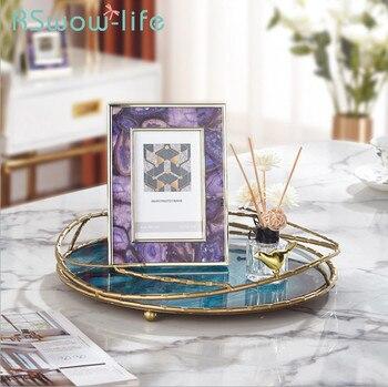 Herrajes ligeros de Lujo + bandeja de almacenamiento de vidrio bandeja para servir joyas de dormitorio sala de estar restaurante bandejas para el hogar decoraciones