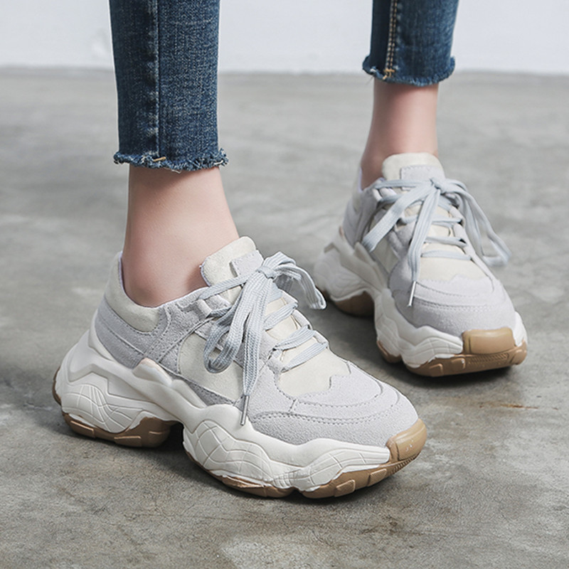 2020 spring casual shoes woman lace up round toe vulcanize shoes platform sneakers student 5cm bottom comfortable flats