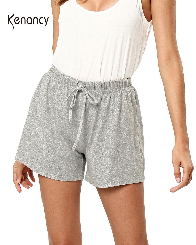 Kenancy Women Bamboo Drawstring Summer Women Shorts Casual High Waist Solid Gray Loose Shorts Streetwear Outwear Mini Bottoms