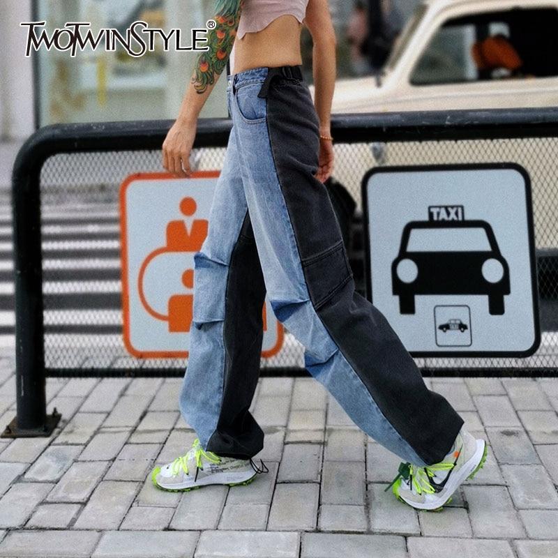 TWOTWINSTYLE Patchwork Hit Color Denim Women's Pants High Waist Pocket Wide Leg Jeans Female 2019 Autumn Large Size Fashion New