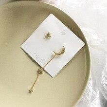 New Asymmetrical Star Moon Earrings Women Fashion Korean Temperament Long Personality Ear Jewelry